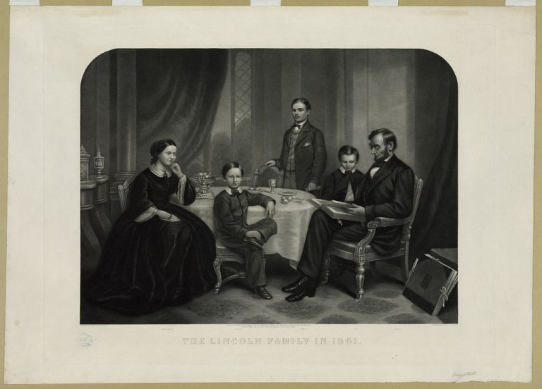 The Lincoln Family in 1861, Courtesy of Library of Congress)