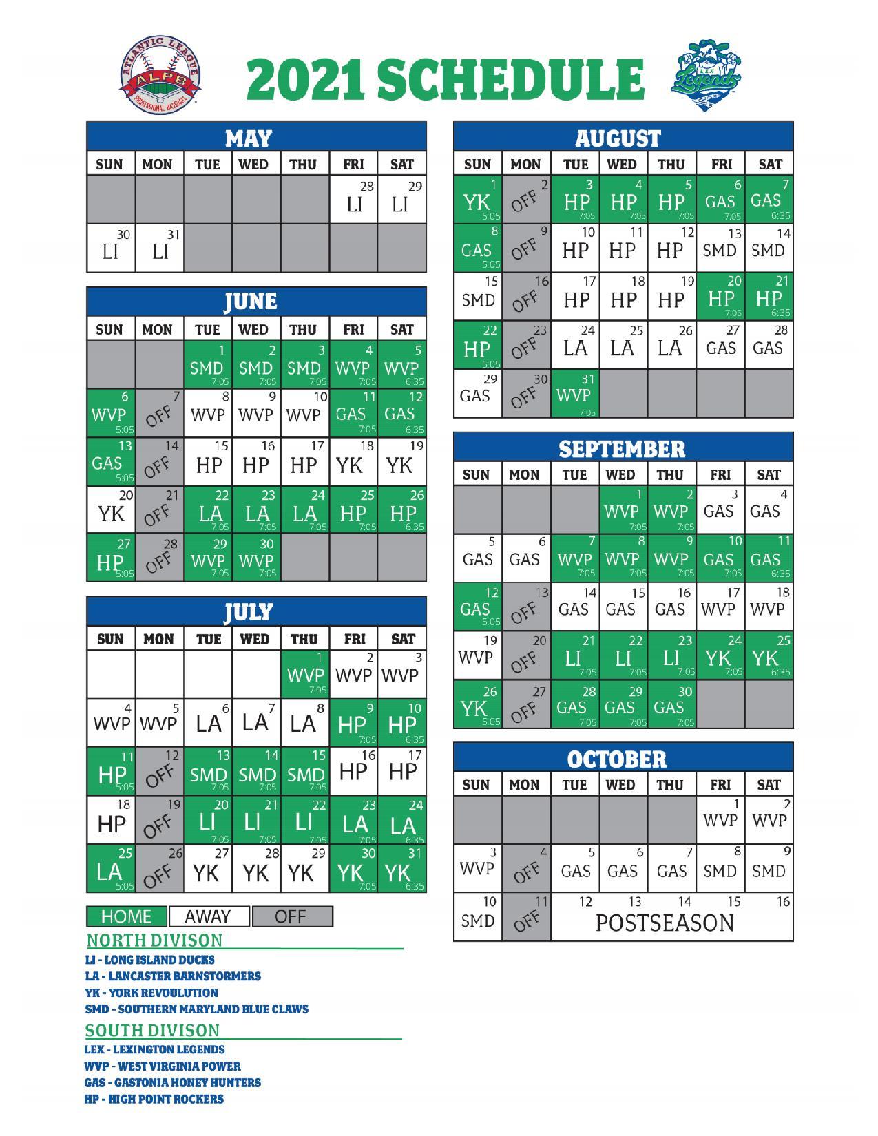 Lexington Legends Schedule 2021
